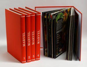 Encadernação em capa dura colada e costurada de revistas em quadrinho marvel